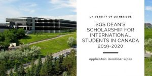 SGS Dean's funding for Africans in Canada 2019-2020