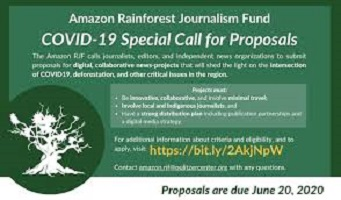 Call for Proposals for Amazon Rainforest Journalism Funds and COVID-19